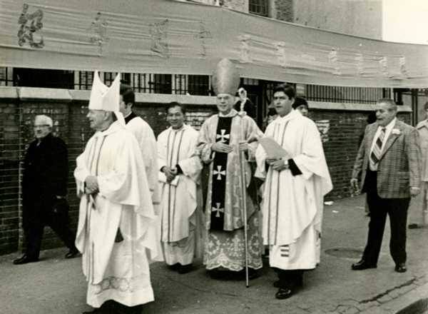 Cardinal Cooke and his emissaries walkign towards the Church of the Transfiguration