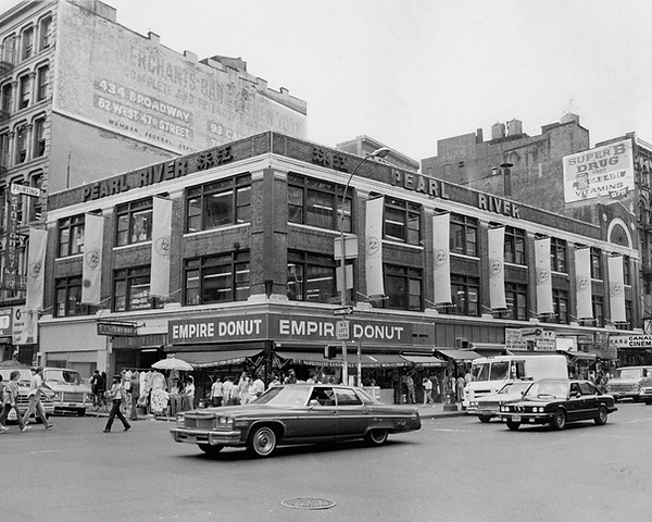 Photo from 1983 of Pearl River Mart on the corner of Canal and Broadway
