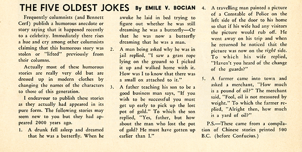 A SHORT ARTICLE TITLED THE FIVE OLDEST JOKES