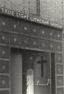 True Light Lutheran Church with bride, date unknown
