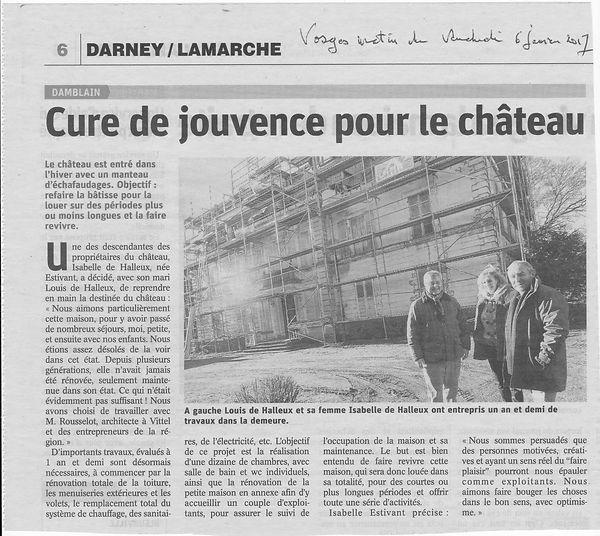 Article Rénovation Château de Damblain