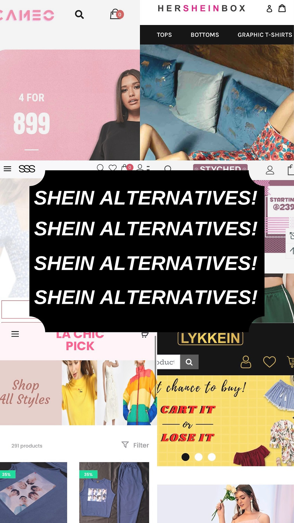 Front pages of the websites that are alternatives   Shein Alternatives   Ayesha Joshi Product