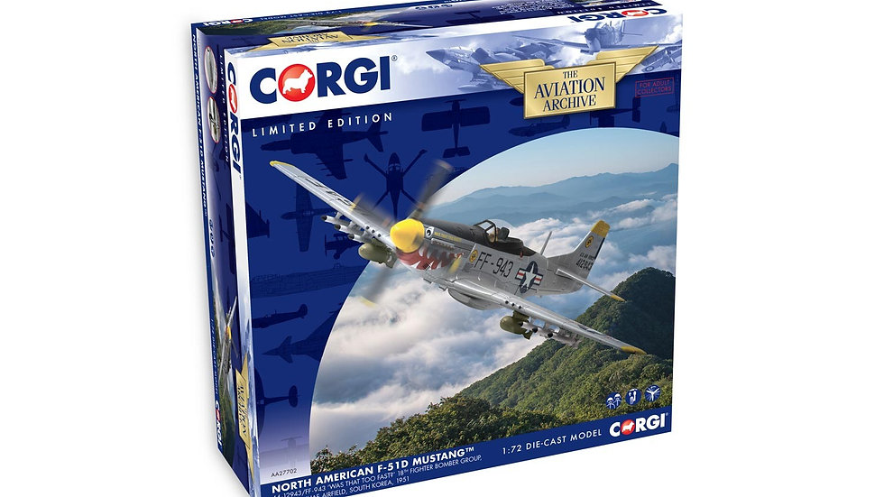 "Corgi 1/72 North American F-51D Mustang ""Was that to Fast"" South Korea 1951"