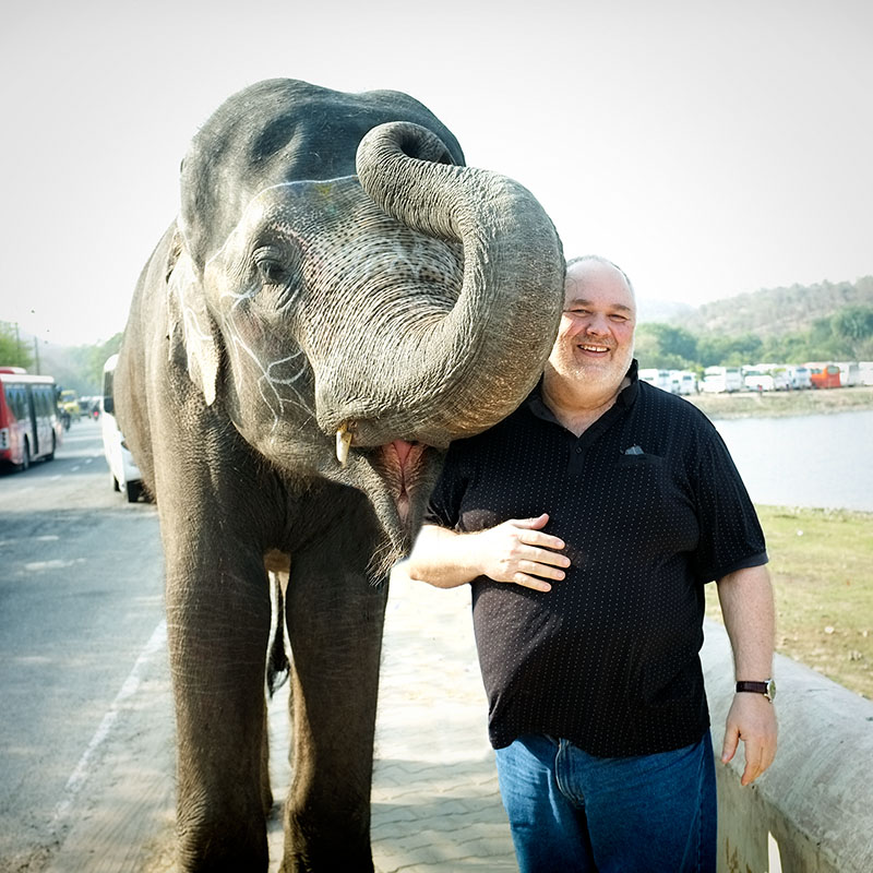 Robin Spencer - Ottawa Photographer blessed by an elephant traveling India