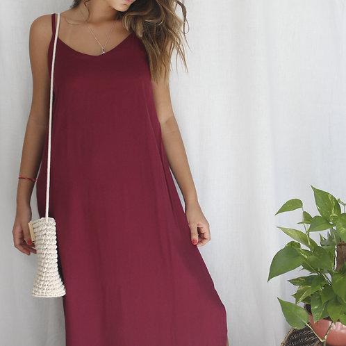 Vestido Longo Fenda Bordô