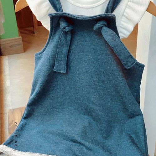 Jardineira Baby Moletinho Jeans