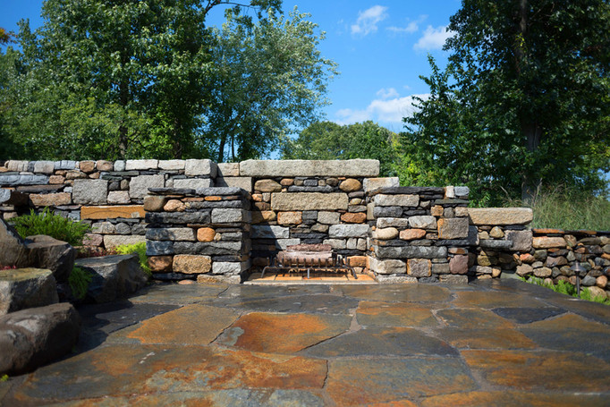 Fireplace with Goshen patio