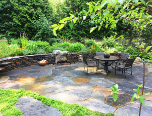 Goshen stone terrace, wall and firepit