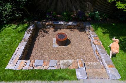 Dry laid stone conversation pit