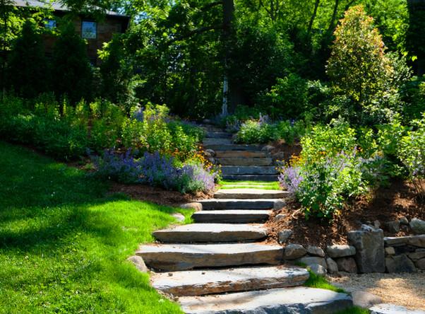 Goshen stone staircase and pollinator garden