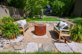 Dry laid stone conversation pit & standing stone