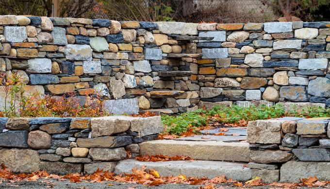 Dry laid stone walls & stiles, reclaimed granite steps (design by Gordon Hayward)