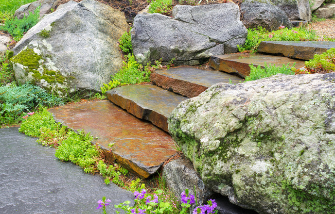 Fieldstone steps with boulders