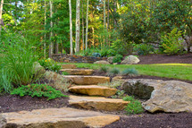 Fieldstone steps and boulder setting (design by Angie Verge & Village Stonesmith)