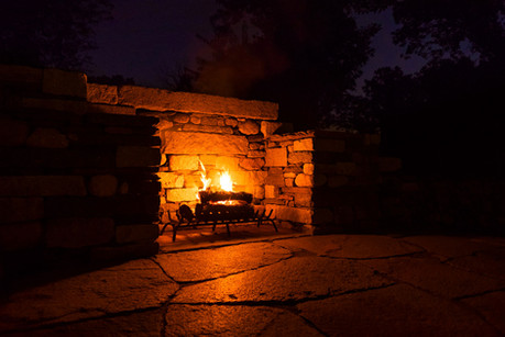 Fireplace in wall at night