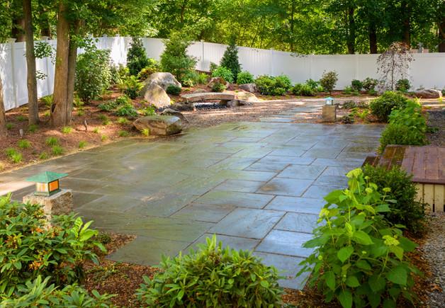 Bluestone patio and planting (design by Sallie Hill Design)