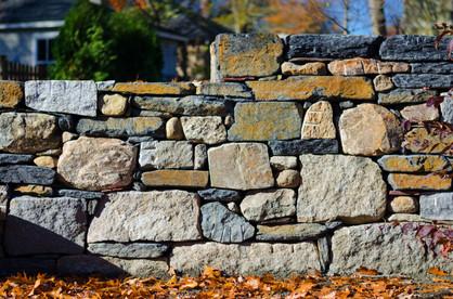 Dry laid fieldstone, Goshen stone, and reclaimed granite wall