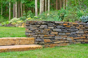 Goshen stone wall and granite steps (design by Angie Verge)