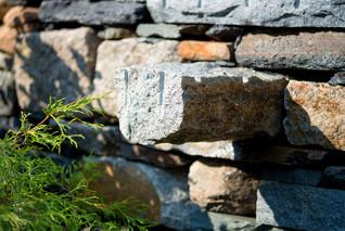Granite stile shelf built in wall
