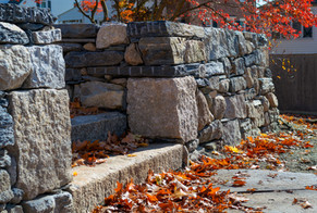 Dry laid stone walls with granite, Goshen stone and fieldstone, and granite steps