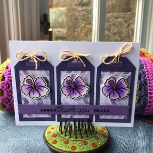 Triple Tag Purple Flowers