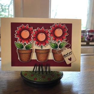 Red 'Sun'flower Pot Trio