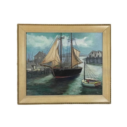 Vintage Mid Century Sailboats in the Harbor Oil on Canvas Painting Signed Madlyn