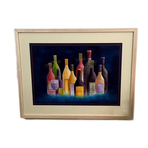 """""""Wine in Bright Colors"""" Watercolor by Les Fosmire"""