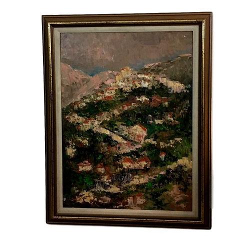 1969 Original Oil Impressionist Landscape signed Gussie