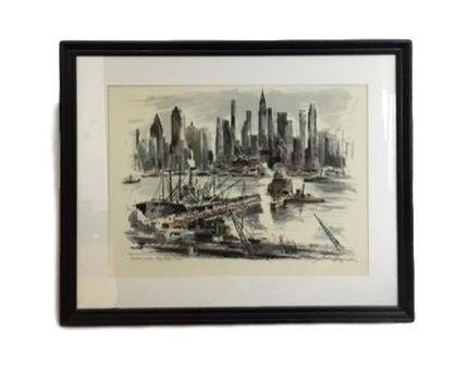 "'Hudson River Skyline"" Serigraph by John Haymson"