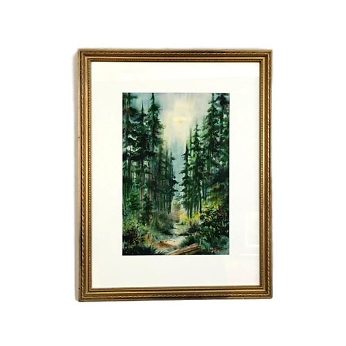 """1950's Forestscape Watercolor signed """"Berg"""""""