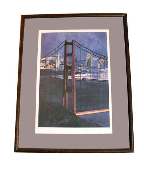 """Golden Gate Bridge"" (1987) S/n lithograph by singer Tony Bennett"