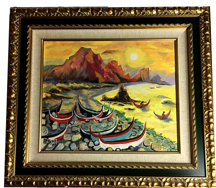 """Boats on the Beach"" Original Oil by A.R. Yang"