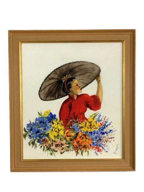 Original Watercolor Woman with Flowers