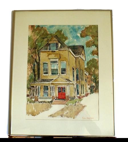 """1972 Vintage Doris Hoyt """"House"""" Watercolor Painting"""