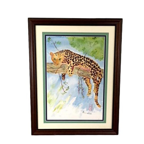 Lounging Leopard Original Watercolor Signed Patricia Flaten