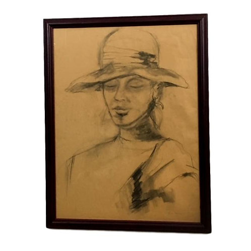 """Woman in a Hat"" Penvil drawing by Tina Mann"