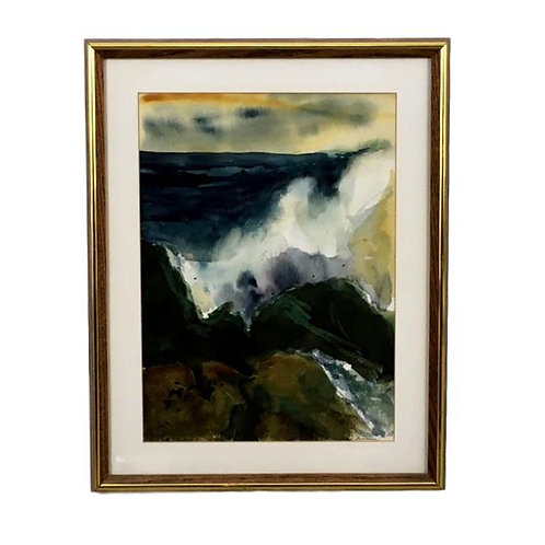 """Crashing Waves""  (1977) Abstract Watercolor signed La Turnu"