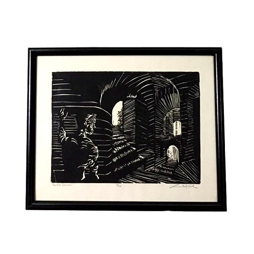 """Vaulted Staircase"" S/n lithograph 4/25 Unknown Artist"