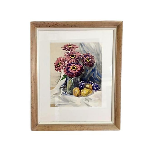 1950's Realism Watercolor Fruit and Flowers Still Life by Fred Fisher