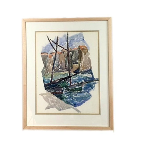 """""""Two Boats at the Quay"""" 1932 Watercolor by J.B. Houser"""