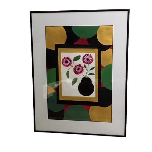 """Modern Tempura Floral Still Life  signed """"Bonita"""""""