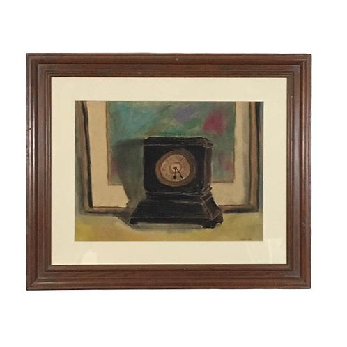 "Clock Watercolor Signed ""Sonam"""