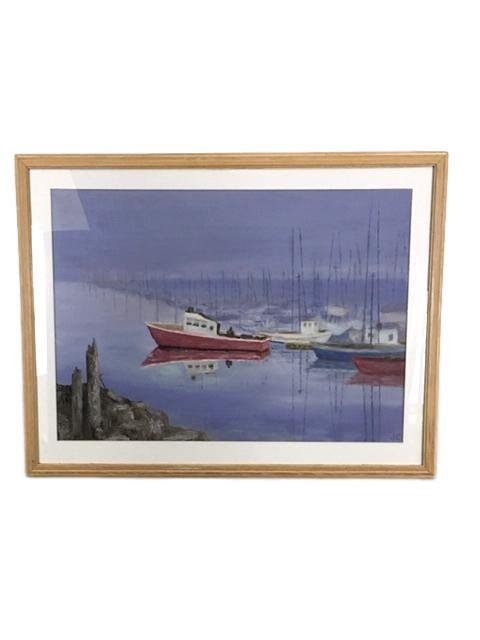 Vintage Oil Painting of Boats in a Harbor