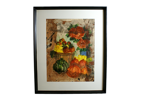 Large Autumn Flower and Gourd Stlll Life Watercolor