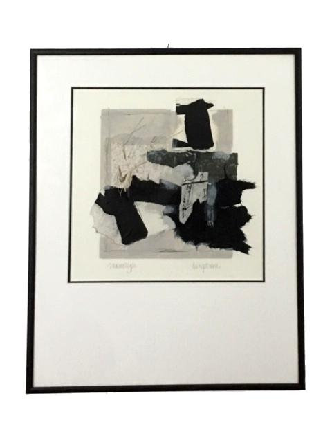 "1990s ""Monotype"" Black & White Collage by Marilyn Bergstrom"