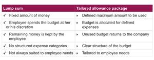 Lump sum vs. Tailored allowance package