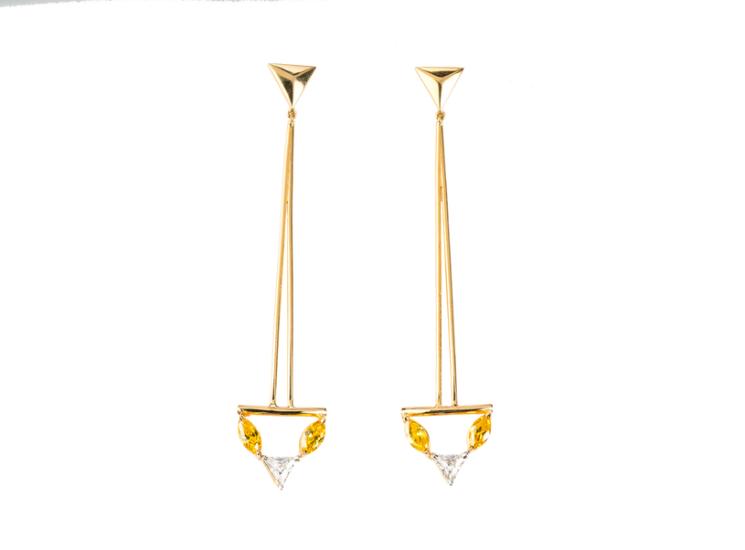 Citrine Pyramid Earrings