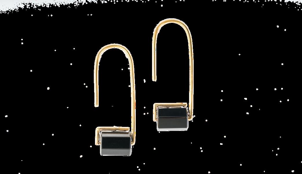 Black Onyx Hook Earrings