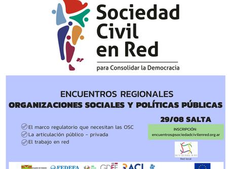 SE REALIZARÁ EN SALTA EL PRIMER ENCUENTRO REGIONAL DE SOCIEDAD CIVIL EN RED